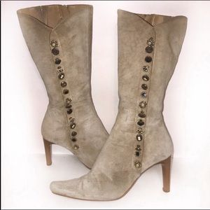 Massimo suede Boots Mid calf tan taupe sand color